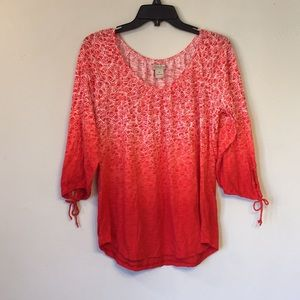 Lucky Brand top, size XL, orange/red ombré print🌺